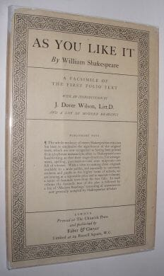 As You Like It First Folio Shakespeare Faber Gwyer c1930
