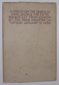 A Speech On The Death Of King George The Fifth 1936
